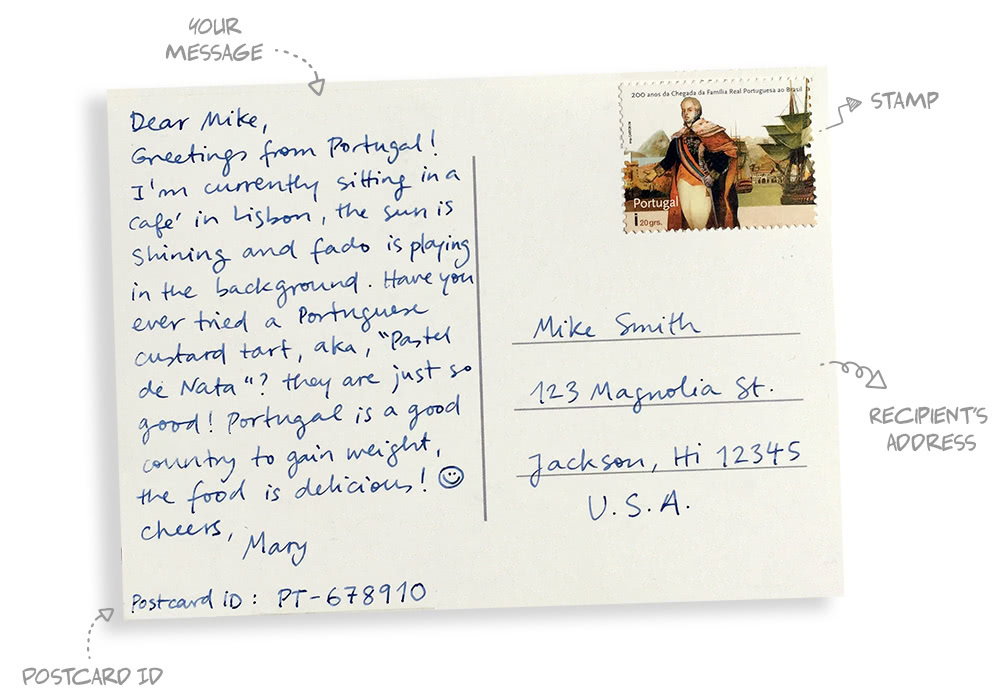 How do you write a postcard?